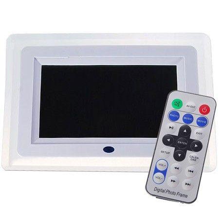 Porta Retrato Digital Tela LCD 7 c Ctrl Remoto branco